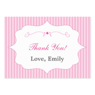 Stripes Pink Thank You Tag Label Pack Of Chubby Business Cards