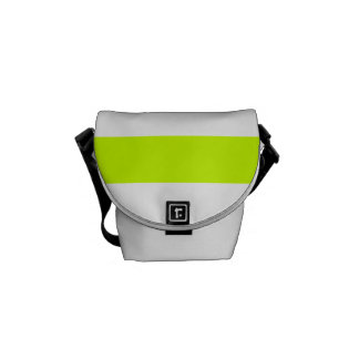 Stripes - White and Fluorescent Yellow Messenger Bag