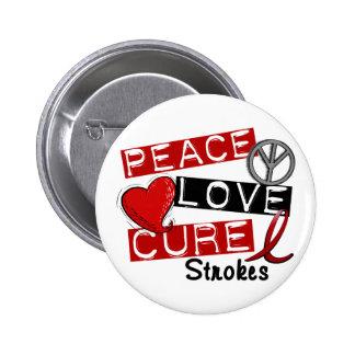 Stroke PEACE LOVE CURE 1 6 Cm Round Badge