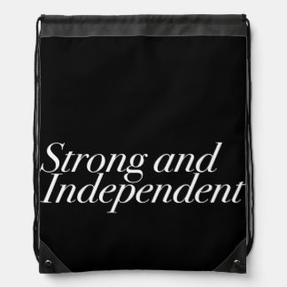 Strong and Independent Motivational Inspirational Drawstring Backpacks