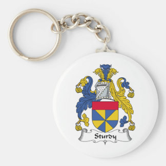 Sturdy Family Crest Basic Round Button Key Ring