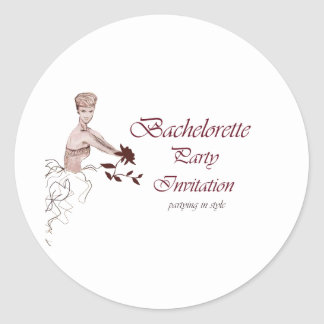 Stylish bachelorette party Invitation Round Sticker