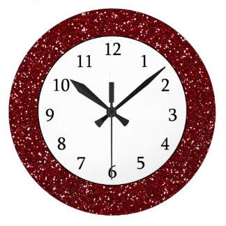 Stylish Dark Red Glitter Wall Clocks