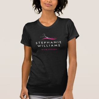 Stylish Hot Pink and Black Hair Stylist Shirt