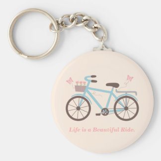 Stylish Life is a Beautiful Ride Bicycle Quote Basic Round Button Key Ring