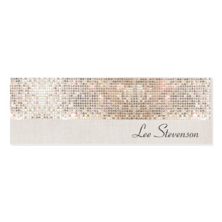 Stylish Modern Fun Trendy Silver Sequins Pack Of Skinny Business Cards