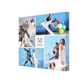 Stylish Monogram Wedding Photo Collage Canvas Gallery Wrap Canvas