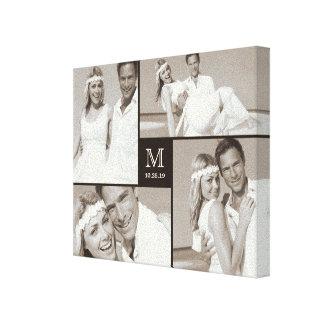 Stylish Monogram Wedding Photo Collage Canvas Stretched Canvas Prints