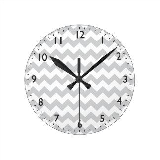 Stylish pale gray zig zags zigzag chevron pattern clock