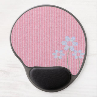 Stylish Pink Knit Floral Pattern Gel Mouse Pad