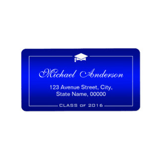 Stylish Plain Blue Gradient -  Graduation Cap Address Label