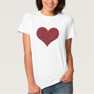 Stylish Red Faux Glitter Valentine's Heart T Shirts