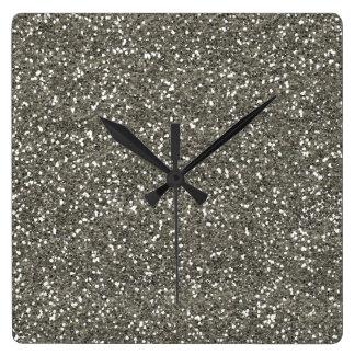 Stylish Silver Glitter Wall Clock