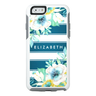Stylish Teal Green Floral Stripes iPhone 6 Case