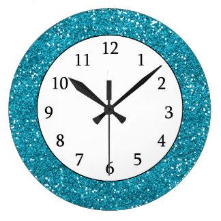 Stylish Turquoise Blue Glitter Wallclock