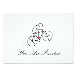 Stylized Bicyclist Design 13 Cm X 18 Cm Invitation Card