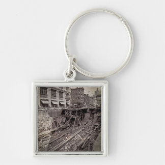 Subway Excavation Seventh Ave and 24-25th NYC Silver-Colored Square Key Ring
