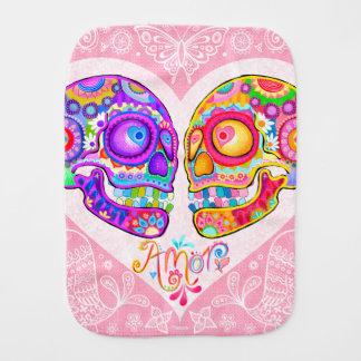 Sugar Skull Burp Cloth - Colorful Skulls in Love