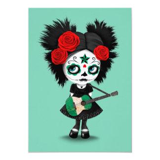 Sugar Skull Girl Playing Nigerian Flag Guitar 13 Cm X 18 Cm Invitation Card