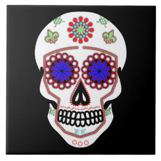 Sugar Skull With Blue Eyes and Green Fleur de Lis Large Square Tile