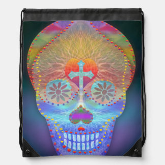 Sugar skull with rainbow colored background drawstring backpacks