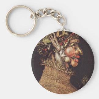 Summer by Giuseppe Arcimboldo Basic Round Button Key Ring