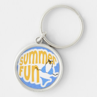 Summer Fun with Blue Bikini Silver-Colored Round Key Ring