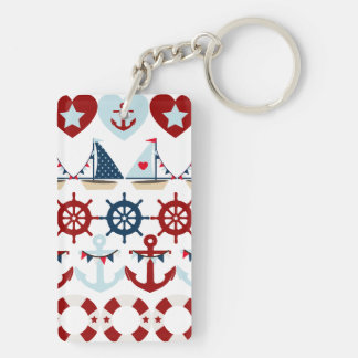 Summer Nautical Theme Anchors Sail Boats Helms Double-Sided Rectangular Acrylic Key Ring