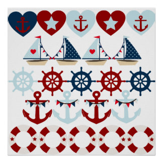 Summer Nautical Theme Anchors Sail Boats Helms Poster