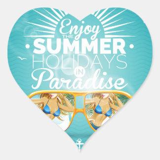 Summer Paradise Design Heart Sticker