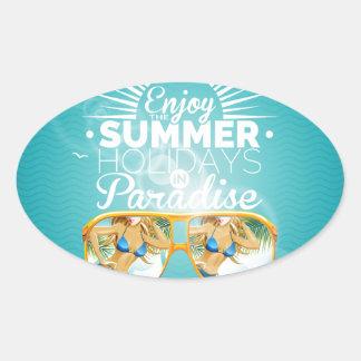 Summer Paradise Design Oval Sticker