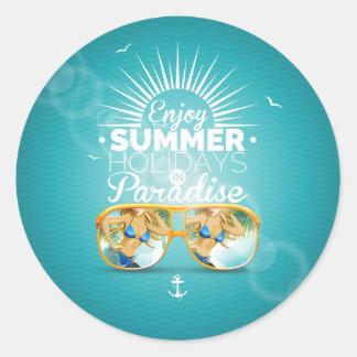 Summer Paradise Design Round Sticker