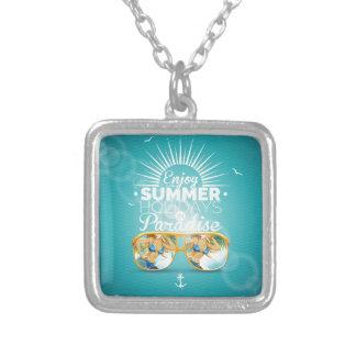 Summer Paradise Design Square Pendant Necklace