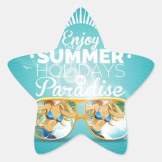 Summer Paradise Design Star Sticker