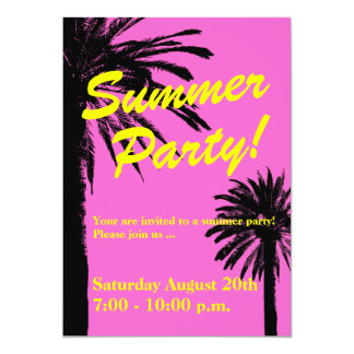 Summer party invitations neon pink and palm trees