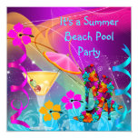 Summer Pink Teal Beach Pool Cocktail Party 13 Cm X 13 Cm Square Invitation Card