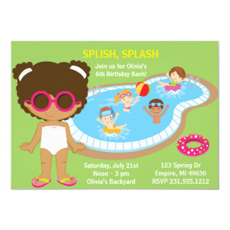 Summer Pool Party African American Girls Birthday 13 Cm X 18 Cm Invitation Card