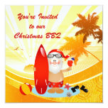 Summer Surfing Santa 13 Cm X 13 Cm Square Invitation Card