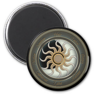 Sun and Moon Pagan Wheel 6 Cm Round Magnet
