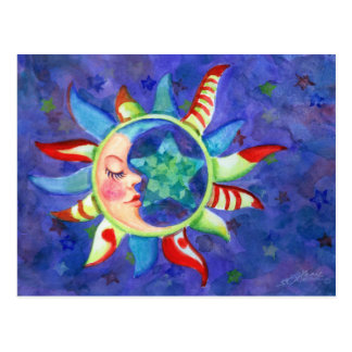 SUN, MOON & STARS by SHARON SHARPE Postcard