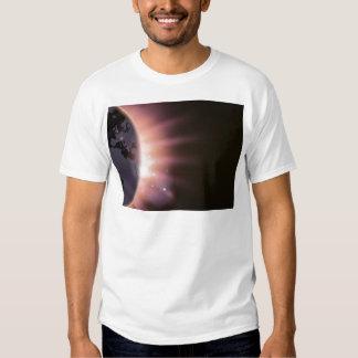 Sun rays burst over the globe t shirt