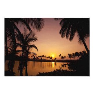 Sun setting on Anaeho'omalu Bay, Big Island, Art Photo