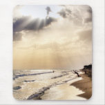 Sun Shining through the Clouds onto Beach Waves Mouse Pad
