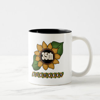 Sunflower 35th Birthday Gifts Two-Tone Mug