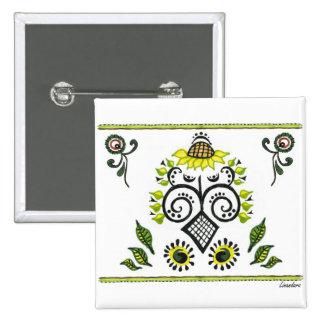 Sunflower Folk Pattern by Alexandra Cook 15 Cm Square Badge