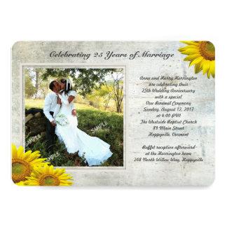 Sunflower Grunge Photo Renewing Marriage Vows 13 Cm X 18 Cm Invitation Card