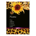 SUNFLOWERS AND LEOPARD FUR PINK GEMSTONE MONOGRAM PACK OF CHUBBY BUSINESS CARDS