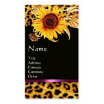 SUNFLOWERS AND LEOPARD FUR PINK GEMSTONE MONOGRAM PACK OF STANDARD BUSINESS CARDS