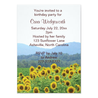 Sunflowers Photo Birthday Party Invitation