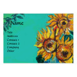 SUNFLOWERS WITH CAT PACK OF CHUBBY BUSINESS CARDS